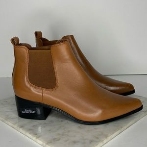 New Blondo Brown Leather Block Heeled Ankle Boots